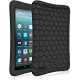 Fintie Silicone Case for All-New Amazon Fire 7 Tablet (7th Generation, 2017 Release) - [Honey Comb Upgraded Version] [Kids Friendly] Light Weight [Anti Slip] Shock Proof Protective Cover, Black