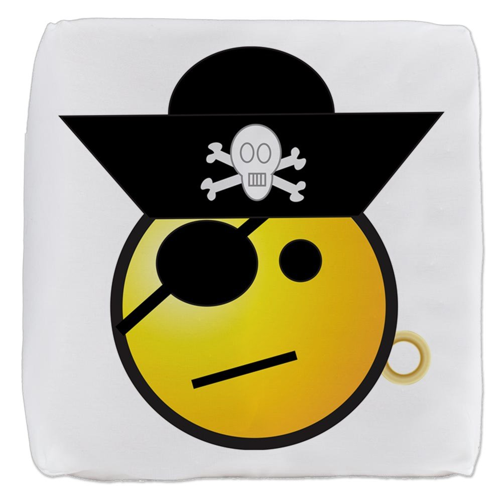 18 Inch 6-Sided Cube Ottoman Smiley Face Pirate