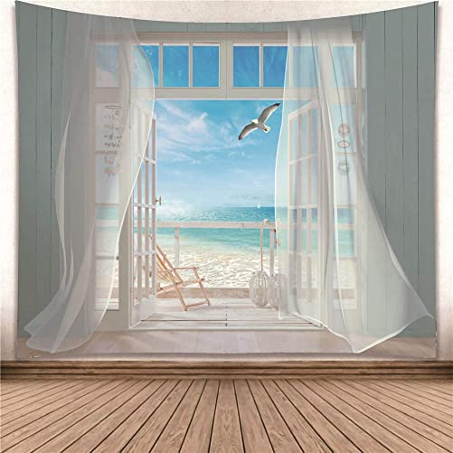 YISURE Tapestry Wall Hanging, Seagulls Screen Window Ocean Seaside Heaven Balcony Wall Art for Bathroom Bedroom Living Room Dorm Decoration, Large Size, 91×71 Inch