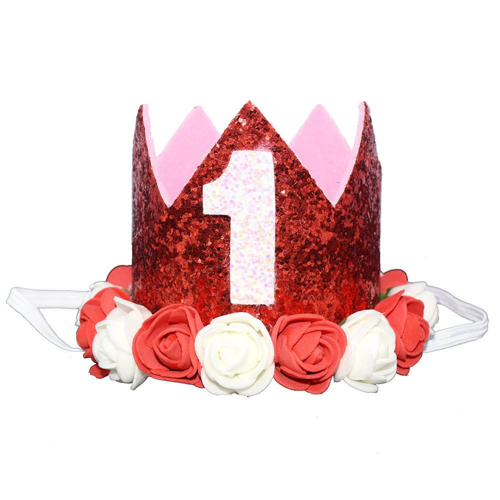 Baby Pink 1//2 Glitter 1//2 1st Birthday Princess Flower Crown Tiara Headband Cake Smash Photo Prop for Baby Girl