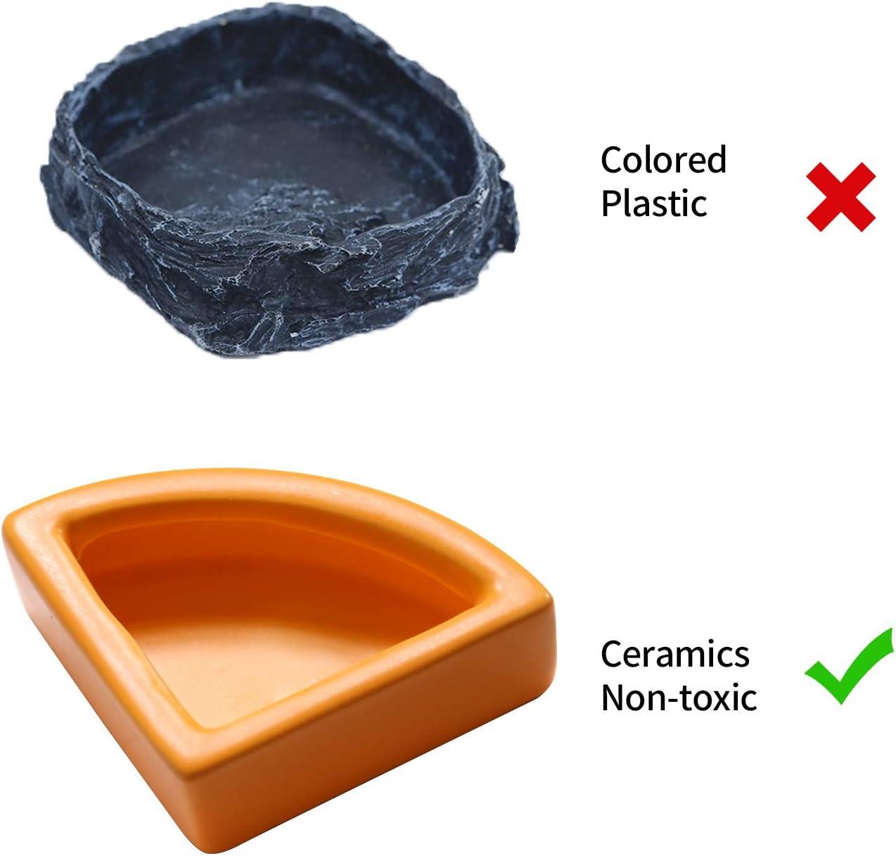 Ceramic 1//4 Round Mini Worm Dish Reptile Gecko Ledge Feeder Corner Space Saving Designing