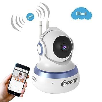 Cámara IP 1080P Cámara de Vigilancia WiFi CORPRIT con Stokcage Seguridad en el Cloud, Cámara