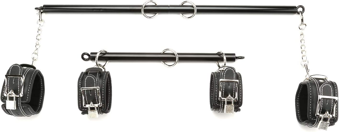Black and Red exreizst Expandable Spreader Bar with 2 Adjustable Straps Set Sports Exercise Aid Training Kit