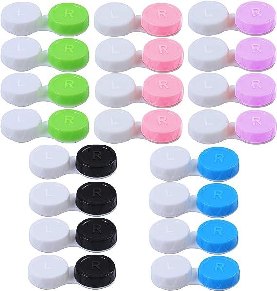 20PCS Caja de Lentes de Contacto Kit de Viaje, Stuche para Lentes de Contacto, Caja Para Lentillas, Estuche Lentillas - Verde Azul Rosa Negro: Amazon.es: Salud y cuidado personal