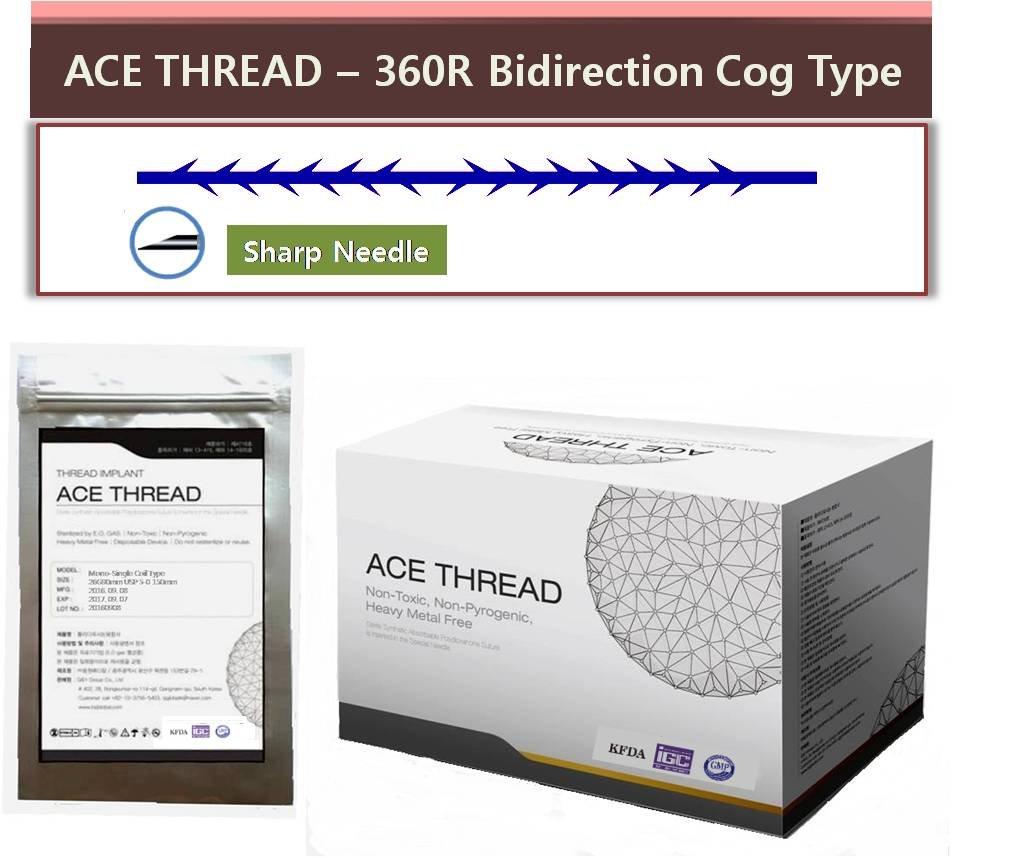 ACE PDO thread lift KOREA face/whole body - 360R Bidirection Cog Type/Sharp Needle (20pcs) (23G60)