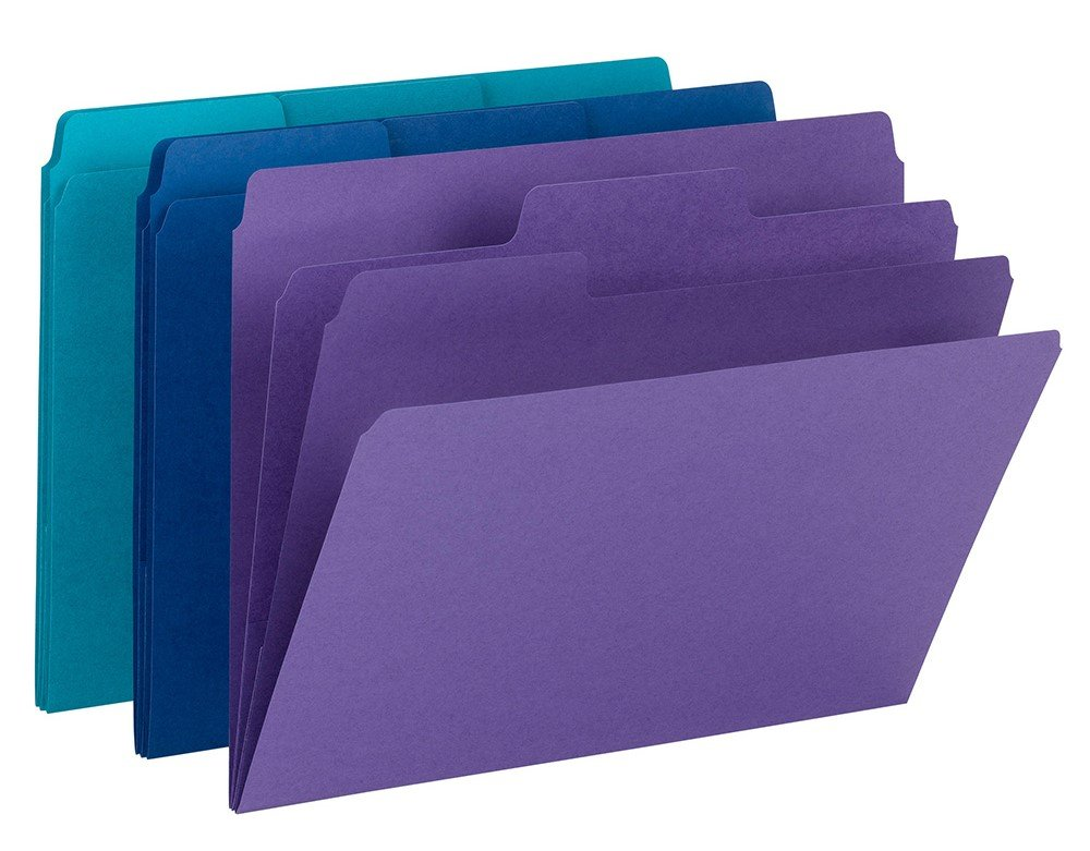 Smead SuperTab Organizer File Folder, Oversized 1/3-Cut Tab, 2 Dividers, Letter, Assorted Colors (11989)
