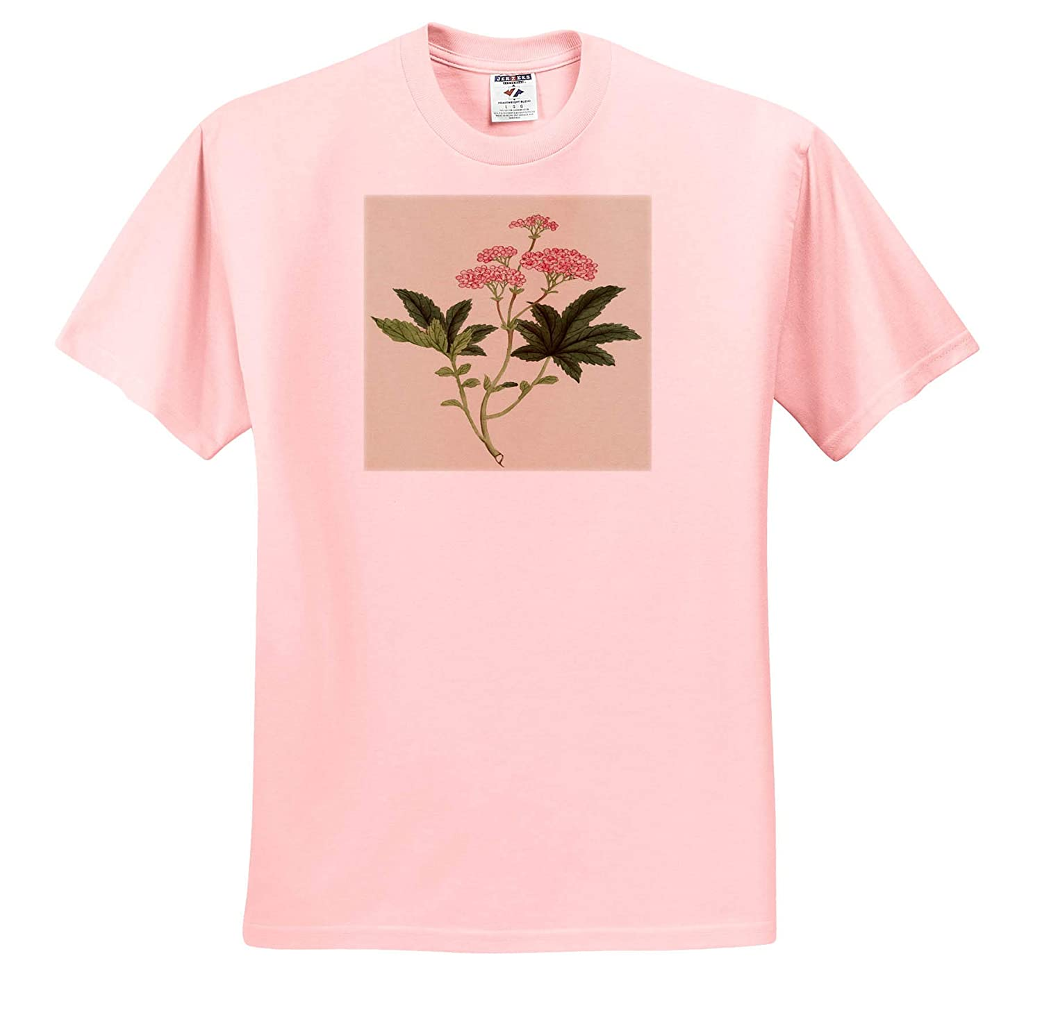 T-Shirts Vintage Style Image of Asian Pink Watercolor Flower Painting 3dRose Lens Art by Florene