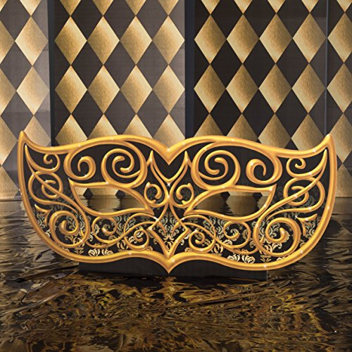 3 ft. 3 in. Black and Gold Masquerade Mask Mardi Gras Standee Standup Photo Booth Prop Background Backdrop Party Decoration Decor Scene Setter Cardboard Cutout -