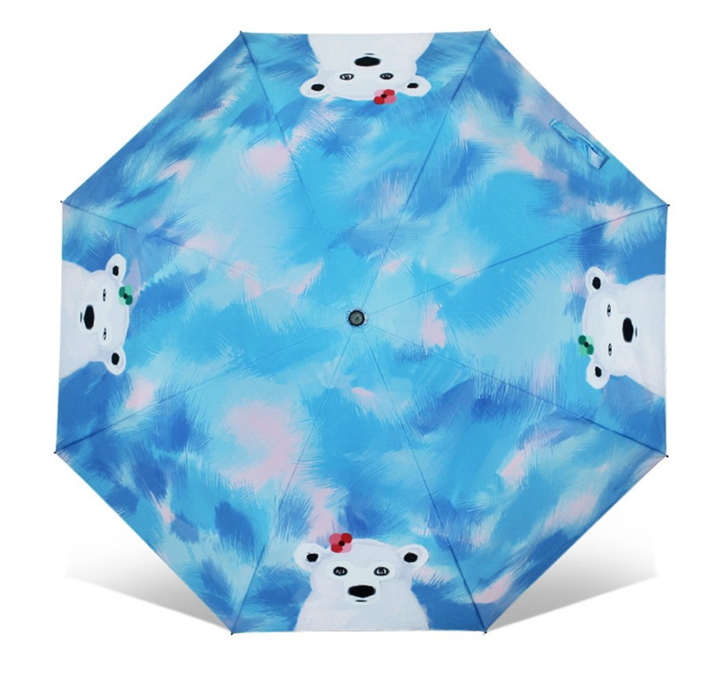 ホワイトBear Illustration Sunnny傘、旅行雨傘折り畳み傘with滑り止めゴム引きグリップ、Sun傘UPF 50 + UV保護   B074TCRF1S