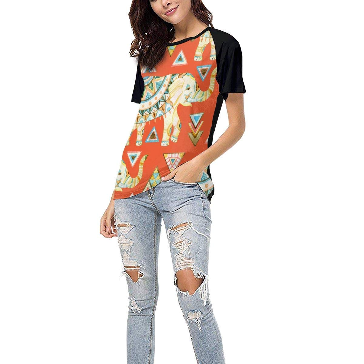 Womens Jersey Shirt Baseball Tee Indian Ornate Elephant Stylish Crew Neck Short Sleeve Raglan T-Shirts Tops Blouse
