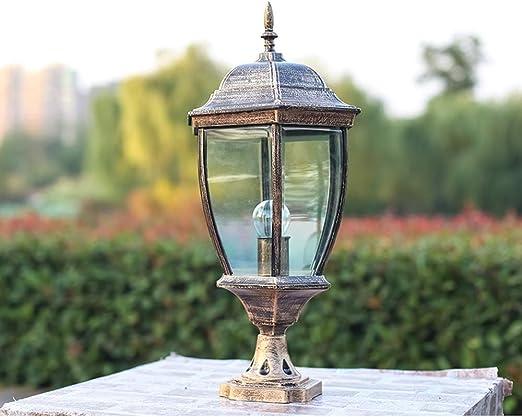 Pumpink Columna Faros Jardín Luz de Pilar Luz al Aire Libre Impermeable Luz de Jardín Retro Lámpara de jardín Pared de la Cabeza Publicar Lámpara Continental (Color : Bronze): Amazon.es: Hogar