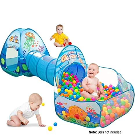 check out a0d3b 201a9 Playhood 3-in-1 Pop Up Play Tent House with Tunnel & Ball Pool for Kids -  Ocean Theme (Balls not Included)