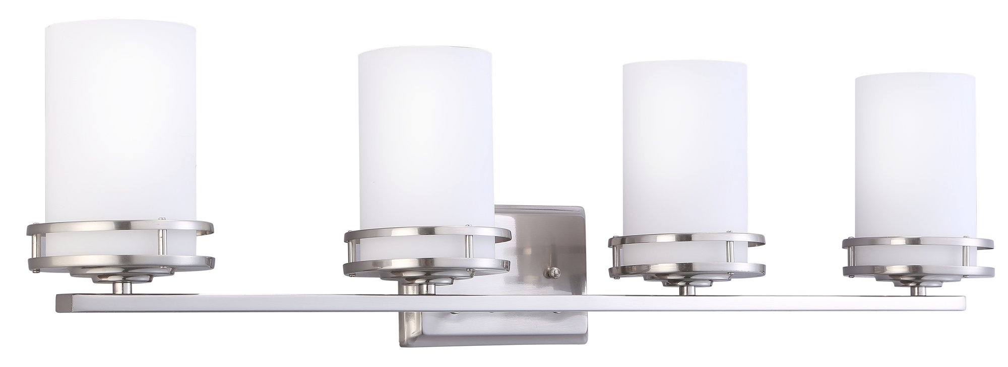 CloudyBay CB17006-BN Bathroom Vanity Light Fixture,4-Bulb Wall Sconce with Opal Glass Shade,UL Listed,Brushed Nickel Finish