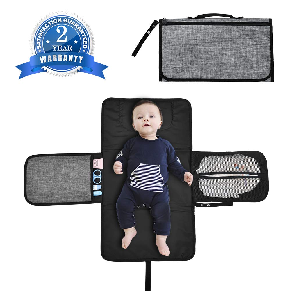 Portable Nappy Changing Mat Waterproof Foldable Infant Diaper Washable Change Station Pad& Cover Kits with Soft Thicken Safe Pillow, Case, Pockets, Handle for Newborn Baby Gift Sets Home Outdoor Travel LLNRC LL002