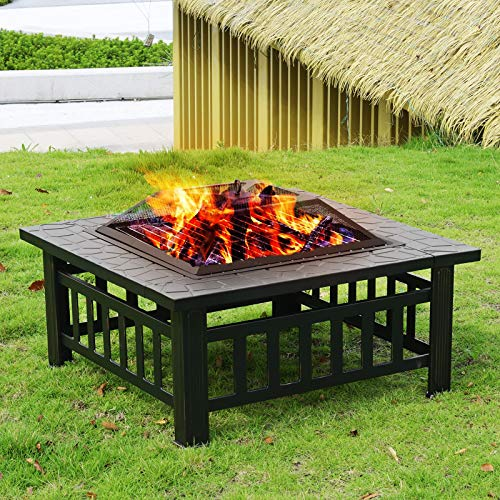 32 Outdoor Fire Pit Square FirePit Metal Fire Bowl Fireplace Backyard Patio Garden Stove for Camping, Outdoor Heating, Bonfire, Picnic