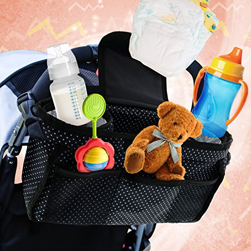 Monster Tots Baby Stroller Diaper Organizer Bag - Waterproof 420D Polyester - Light Weight Design - 2 Insulated Bottle Holder Pockets - Cell Phone Pocket by MONSTER TOTS (Image #7)