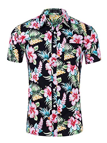 Men's Hawaiian Short Sleeve Shirt- MCEDAR Aloha Flower Print Casual Button Down Slim Fit Beach Shirts With Pocket(S, RED)]()