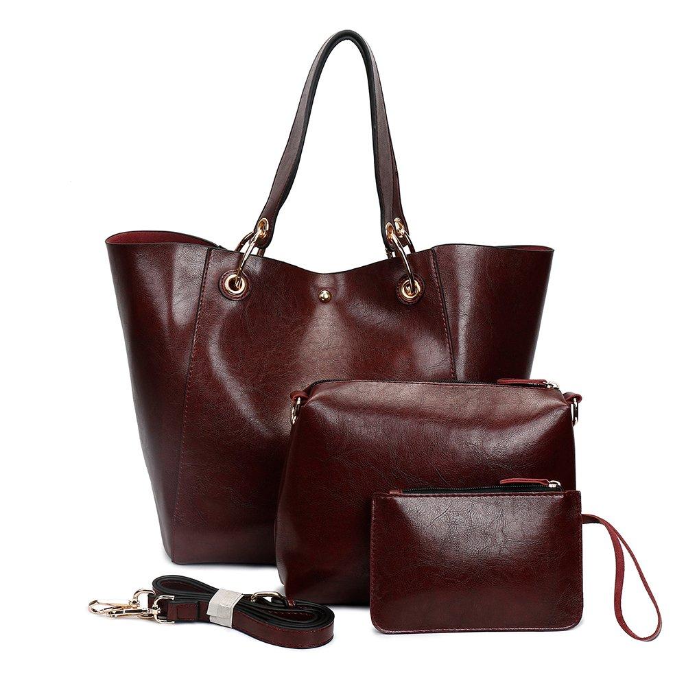 Women's Tote Bag Soft Pu Leather Super Large 4pcs Water-resistant IBFUN Shoulder Bag Shopping Bag Purse Handbag Coffee