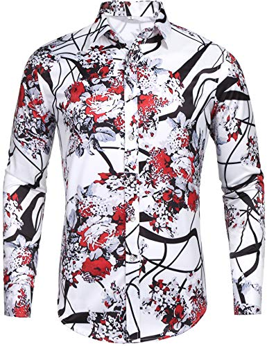Pacinoble Mens Fashion Long Sleeve Street Wear Slim Fit Silk Urban Polyester Disco Luxury Print Button Up Shirts (Red M)