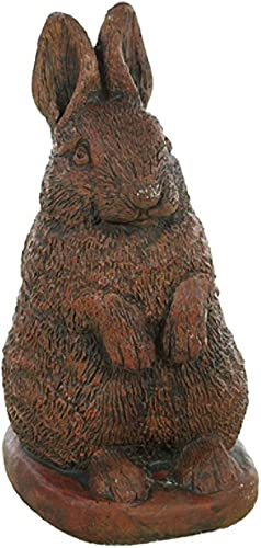 Solid Rock Stoneworks Fat Bunny Stone Garden Statue 18in Tall Walnut Color
