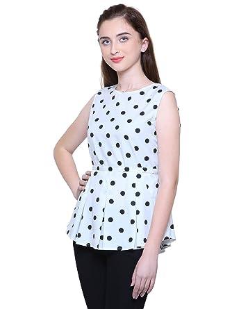 c5e7c320229 Fashion Mitra Women Frock Style Polka Print Crepe Crop Top, White XX-Large