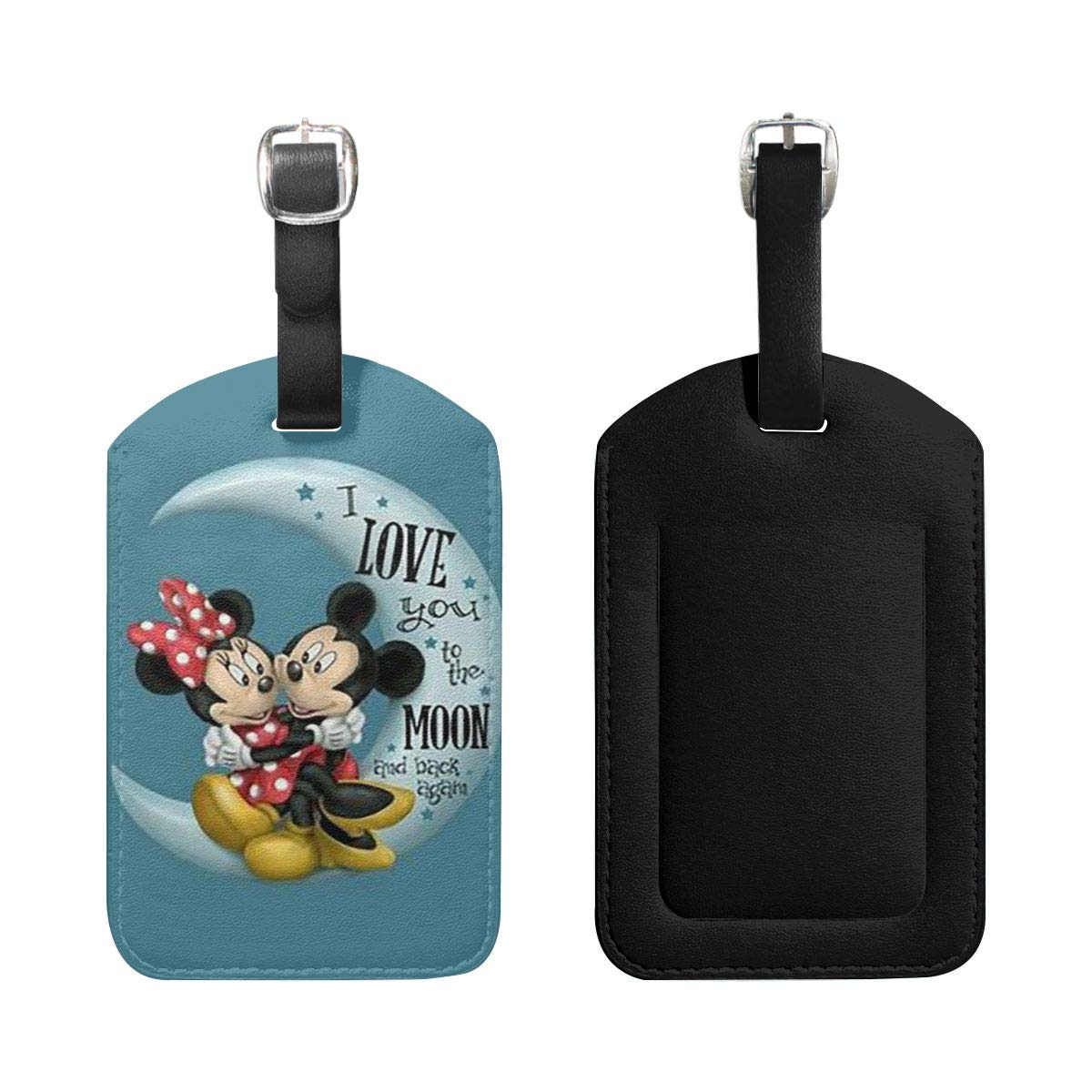 PU Leather Luggage Tags Mickey Mouse and Mrs Mickey Mouse On The Moon Suitcase Labels Bag Adjustable Leather Strap Travel Accessories Set of 2