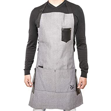 APRON for men & women chef, useful multifunctional pockets, ideal for bbq, grill, kitchen or restaurants, the coolest inexpensive gift for grilling dads, GREY