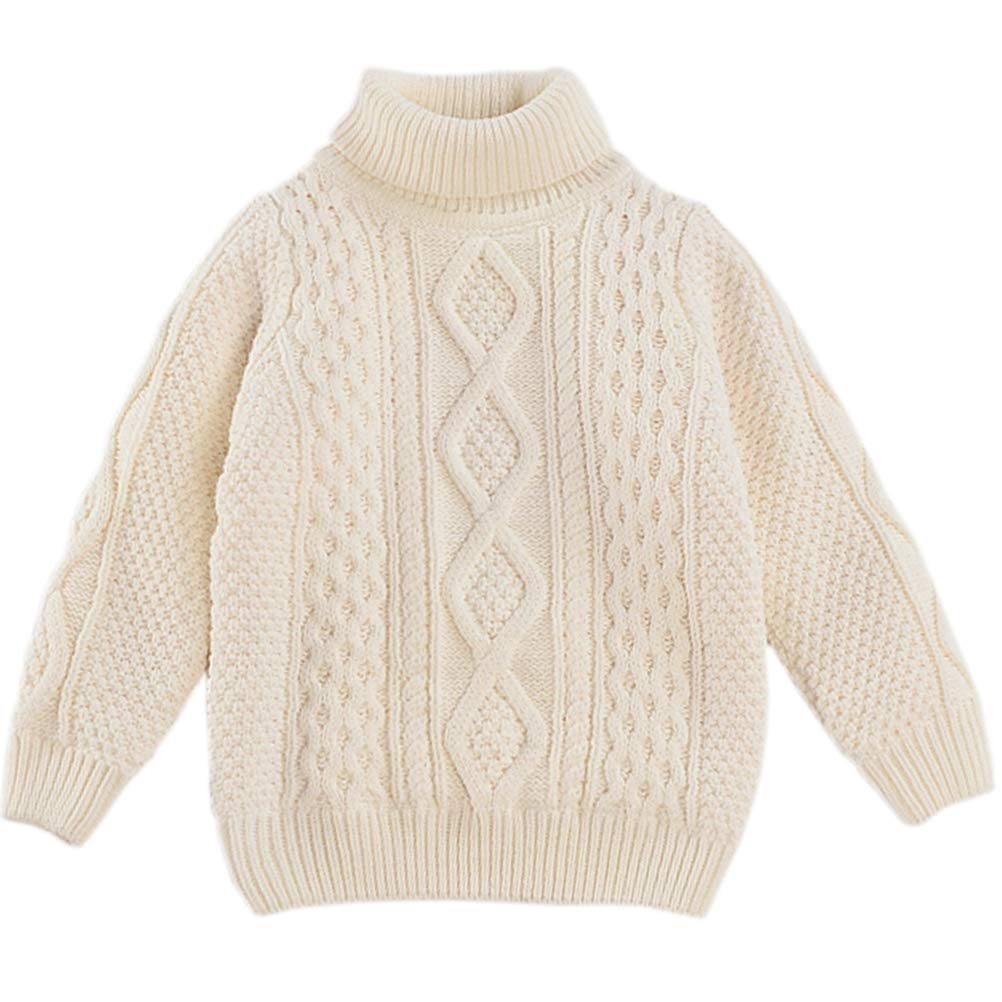 Kids Long Sleeve Turtleneck Chunky Twist Warm Fleece Lined Knit Pullover Sweater for Toddler Baby, Little & Big Girls, White 18-24 Months(2T) = Tag 90 by BINPAW