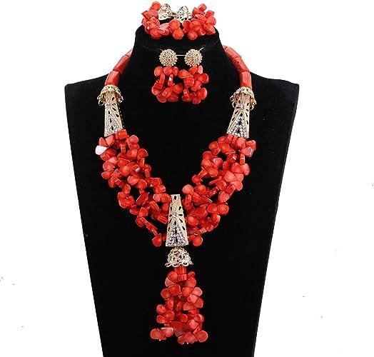 nigeriano Coral Cristal Fiesta Collar De Perlas conjunto africano nigeriano Boda Abalorios