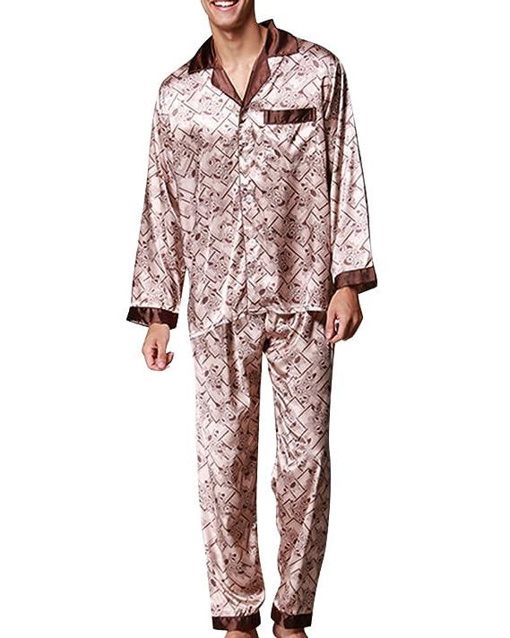 Hombre Pijamas Satén Largos Impresión Retro Pijamas Set V Collar Botones: Amazon.es: Ropa y accesorios