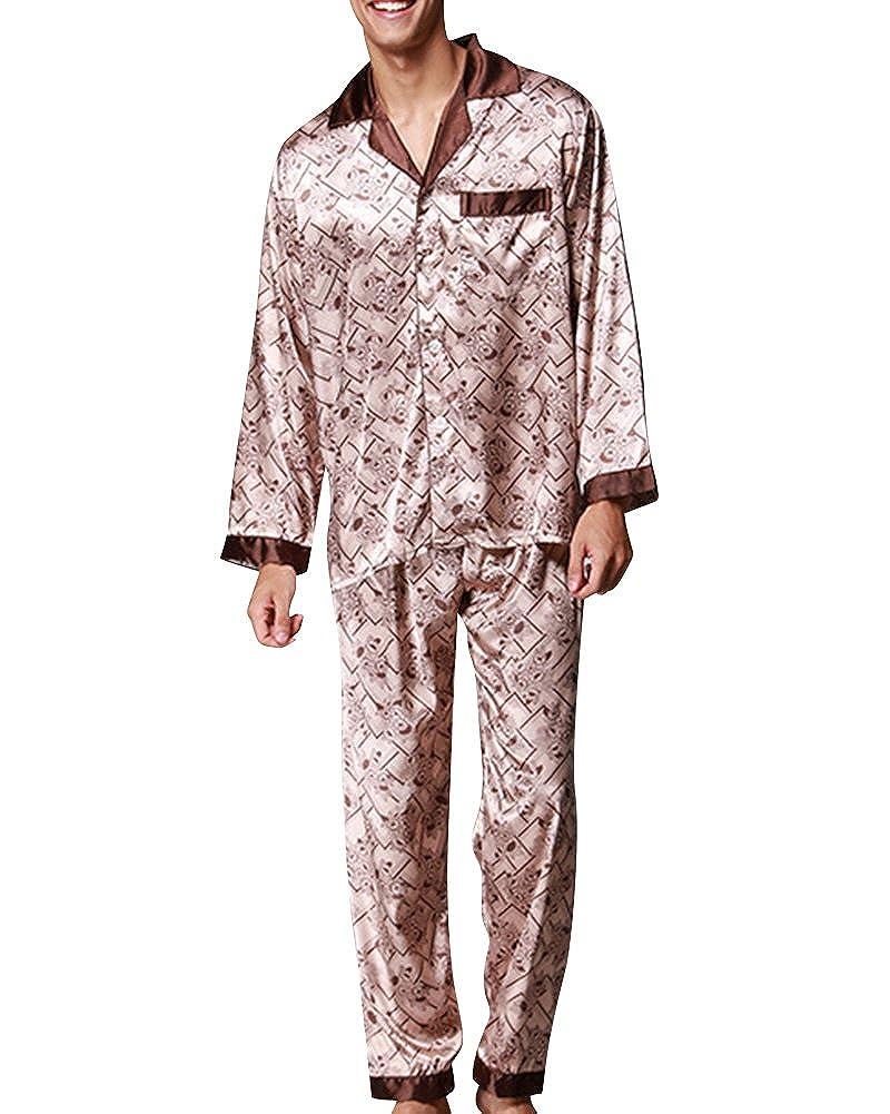 fd5d52704 Hombre Pijamas Satén Largos Impresión Retro Pijamas Set V Collar Botones   Amazon.es