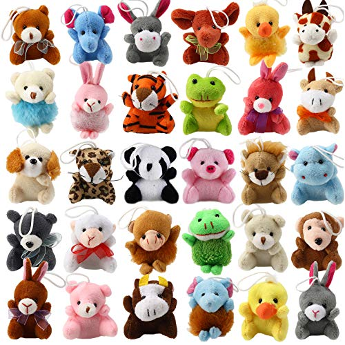 32 Piece Mini Plush Animal Toy Set, Cute Small Animals Plush Keychain Decoration for Themed Parties, Kindergarten Gift…