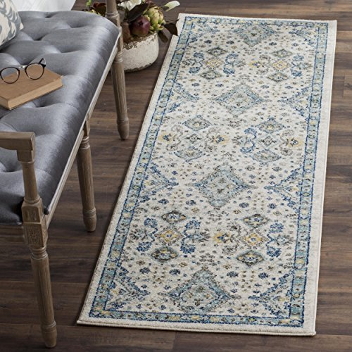 "Safavieh Evoke Collection EVK224C Contemporary Ivory and Light Blue Runner (2'2"" x 9')"