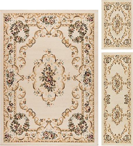 Angeline Traditional Floral Beige 3-Piece Area Rug Set, 3-Piece (Beige Floral Rug)