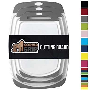 GORILLA GRIP Original Reversible Cutting Board, 3-Piece, BPA Free, Dishwasher Safe, Juice Grooves, Larger Thicker Boards, Easy Grip Handle, Non-Porous, Extra Large, Kitchen, Set of 3, Gray