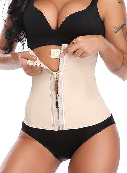 866152da25a KIWI RATA Women s Zipper Hook Hourglass Latex Underbust Corset Waist  Training Body Shaper Beige
