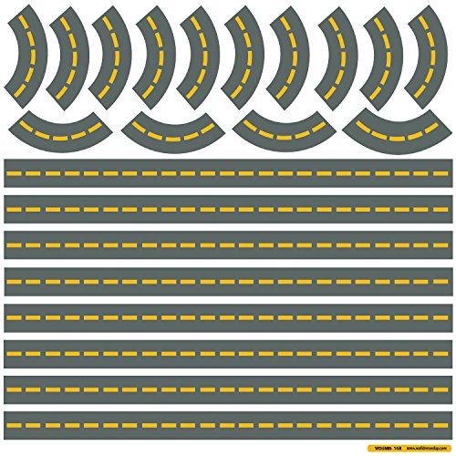 Extra Road Straight and Curved for Trucks Cars Wall Decals ROAD ONLY (Repositionable) Peel and Stick! ...