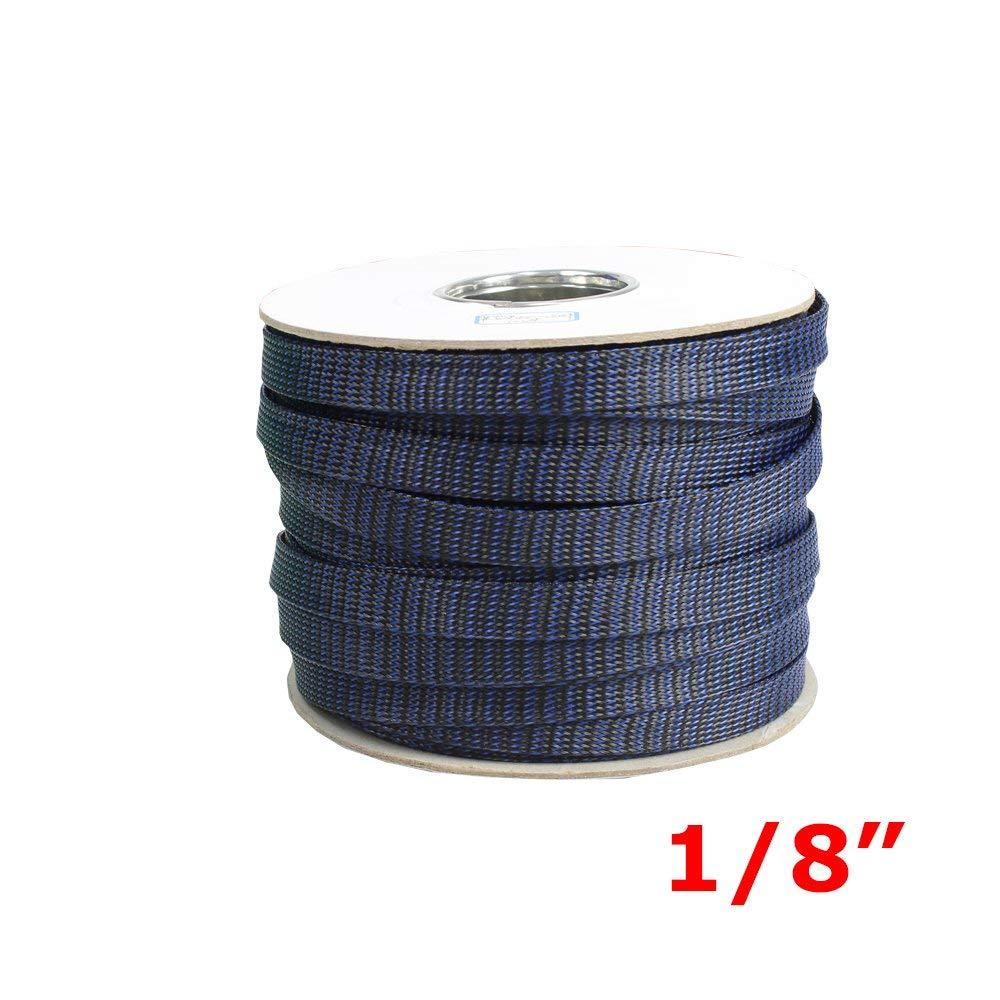 Automotive Expandable Braided Wire Cable Economical Polyethylene Sleeves 1/8'' Dia Black&Blue 20ft