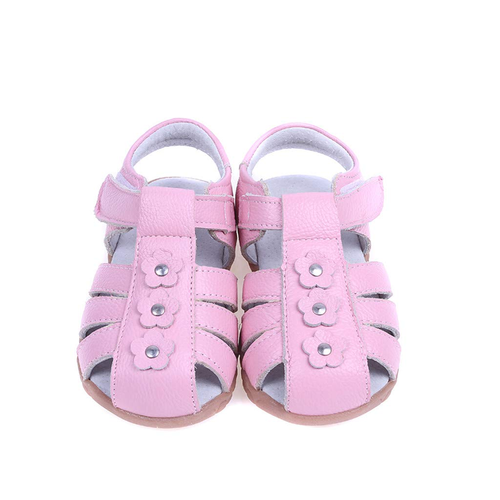kaifongfu Toddler Boy Girl Genuine Leather Soft Closed Toe Beach Sandals Summer Shoes Comfortable Breathable Shoes Red,Pink