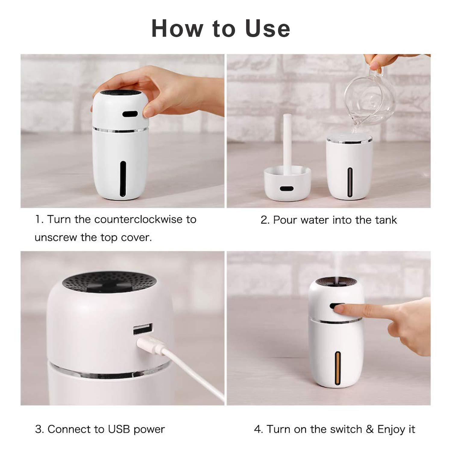 200ml Small Desk Potable Ultrasonic Humidifier with USB Port,7 Colors Night Light,Adjustable Mist Mode,Auto-Off,Whisper Quiet Car Humidifiers for Bedroom,Office Nestar USB Mini Humidifier