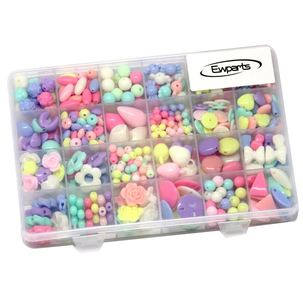60a18820ab56 Ewparts 24 clases Abalorios Perlas de Resina Acrílica Cuentas Redondas  Abalorios Colores Piedras Para Pulseras Joyas ...