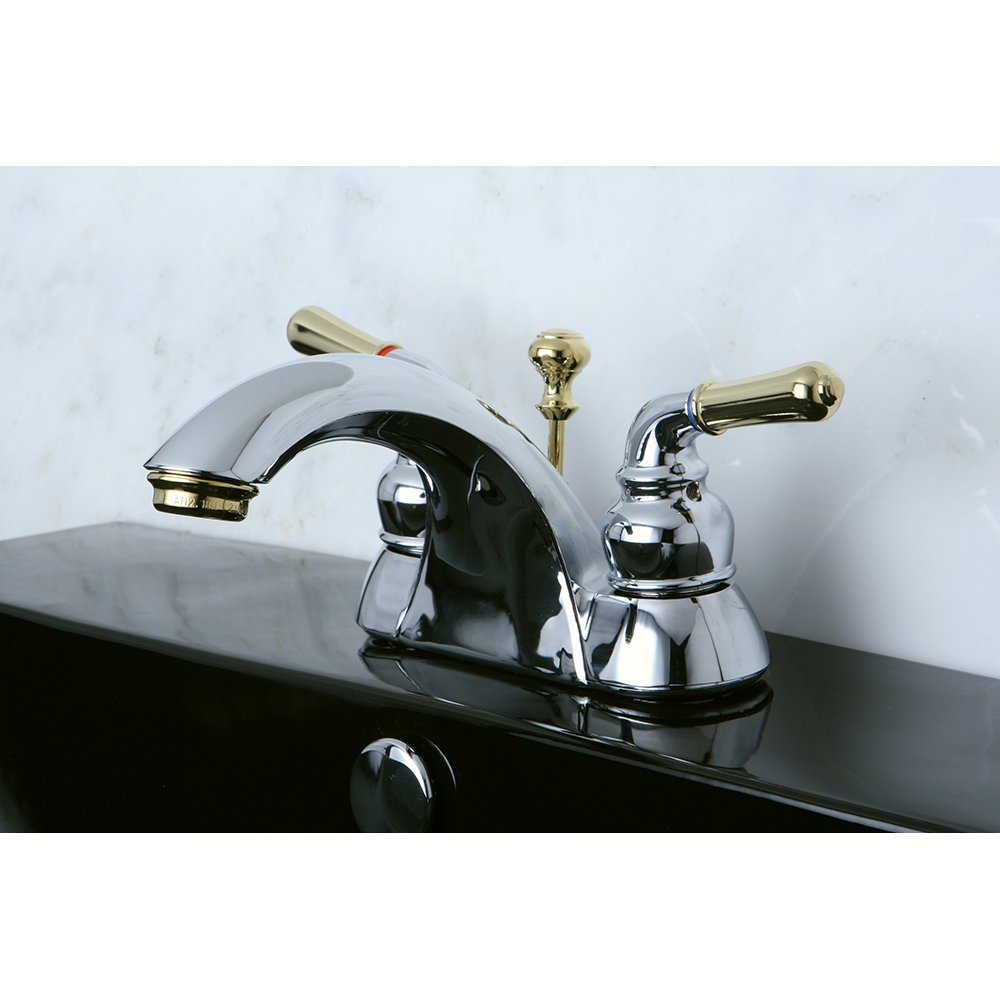 Kingston Brass KB2624 Naples 4 Inch Centerset Lavatory Faucet  Polished  Chrome and Polished Brass   Touch On Bathroom Sink Faucets   Amazon com. Kingston Brass KB2624 Naples 4 Inch Centerset Lavatory Faucet
