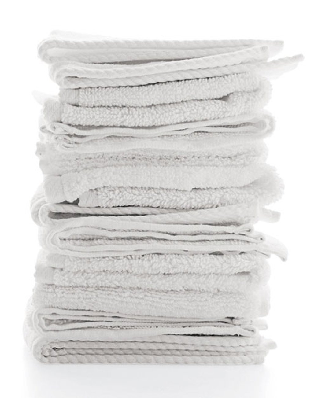 Bar Mop Cleaning Kitchen Dish Cloth Towels,100% Cotton, Machine Washable, Everyday Kitchen Basic Utility Bar Mop Dishcloth Set of 12, White by Living Fashions