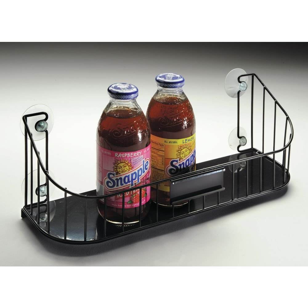 Mobile Merchandisers Black Steel Cooler Door Rack - 16'' L x 5'' W x 2 1/4 H to 5 1/4 H