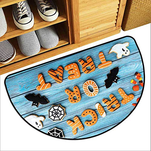 (DILITECK Printed Door mat Halloween Fresh Trick or Treat Gingerbread Cookies on Blue Wooden Table Spider Web Ghost Country Home Decor W31 xL20)