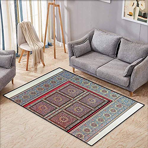 Rectangular Rug,Moroccan Decor Collection,A Magnificent Moroccan Traditional Ancient Door Gate Brass Historic Handicraft Image,Anti-Slip Doormat Footpad Machine Washable,4'11
