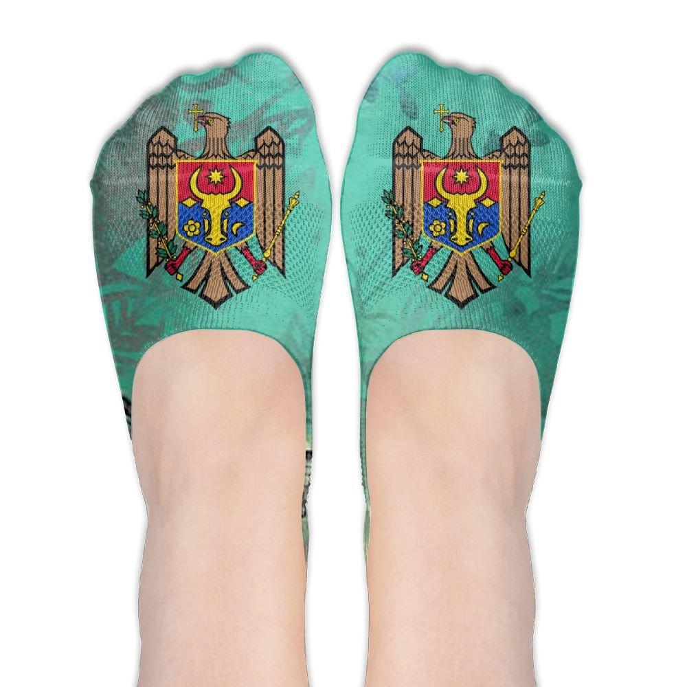Moldova Coat Of Arms Women's Thin Casual No Show Socks Non Slip Flat Boat Line