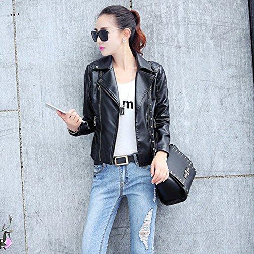 Faux Femme Manteau Veste Chaud Noir Hiver Moto Zip Blouson Cuir Bigood qSBPxR