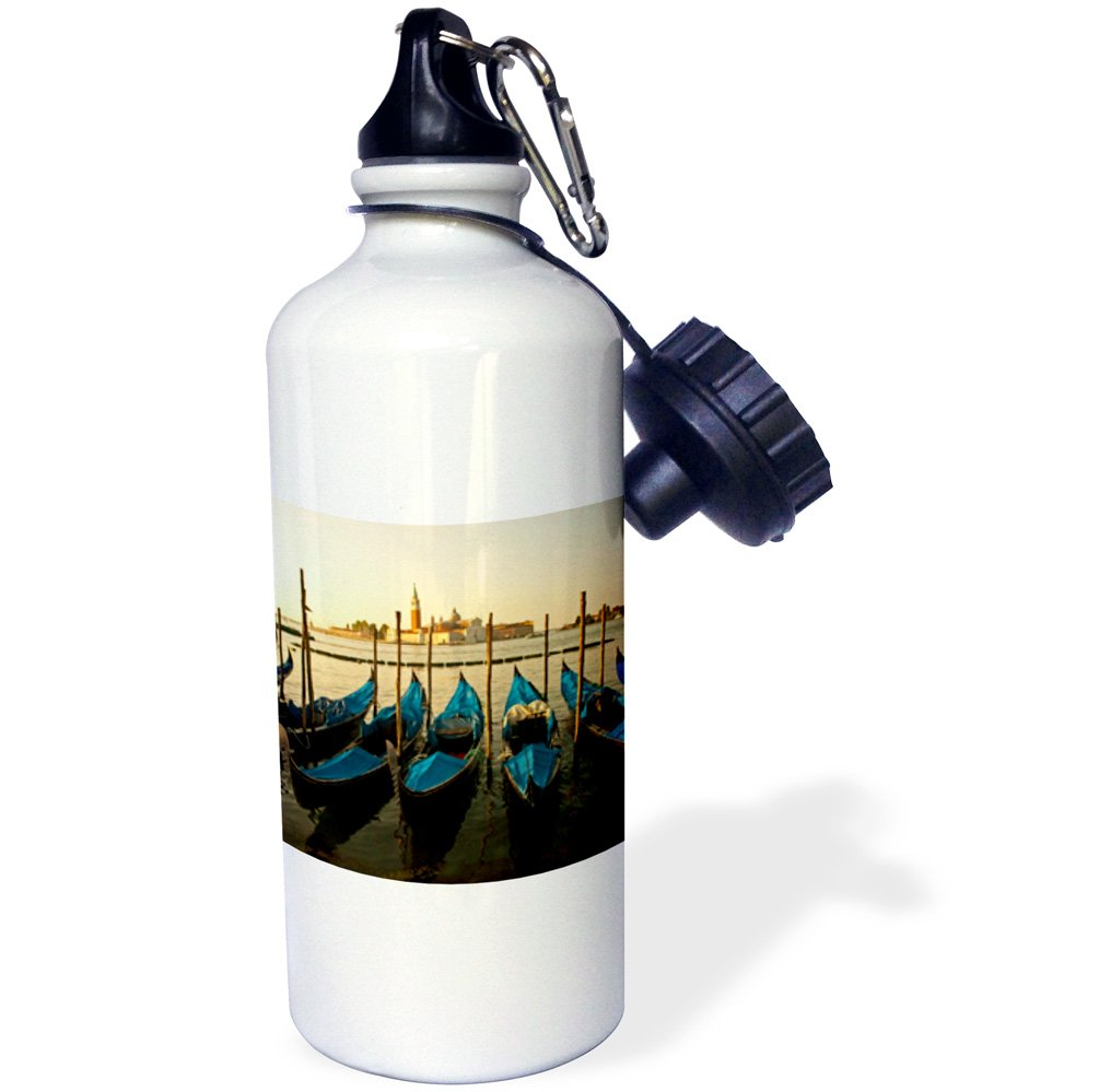 3dRose wb_137747_1 ''Canale di San Marco and gondolas, Venice, Italy EU16 DNY0017 David Noyes'' Sports Water Bottle, 21 oz, White