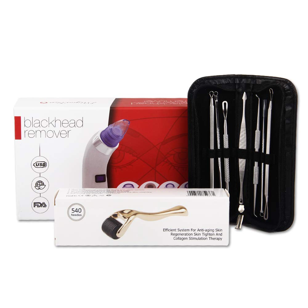 BLACKHEAD PIMPLE REMOVER TOOL KIT - Microneedle derma roller gold Face  Cleaner Electric